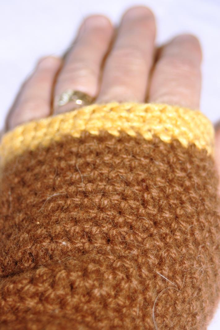 3 Hawk Alpacas Hand Crocheted Arm Warmers