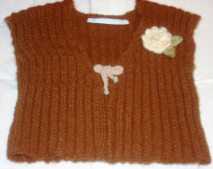 American Hand Knit Ladies Solid Brown Alpaca Vest