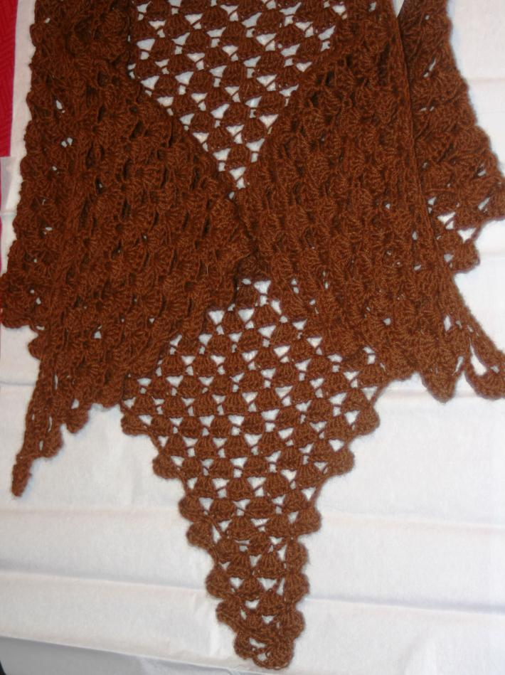 Woman Solid Brown  Hand Crocheted triangular Shawl Made of  Alpaca