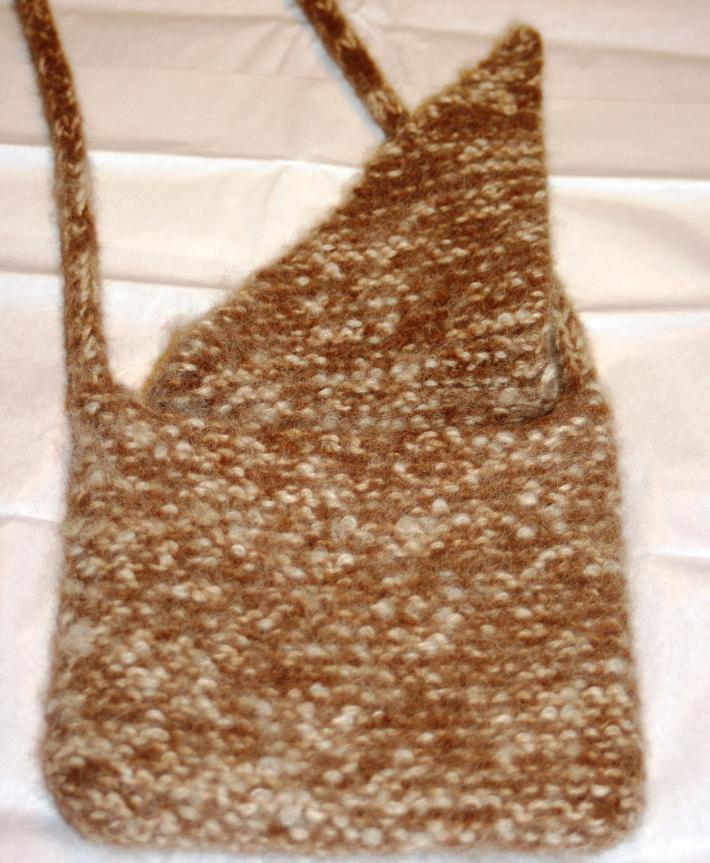 Brown and White Small Shoulder Bag with One Compartment Hand Knit and Felted