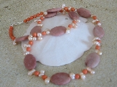 Peach Jasper and Pearl Necklace