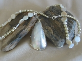 Shell Focal with mop Beads and Almond Glass Pearls