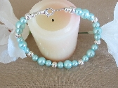 Turquoise Glass Pearl Bracelet