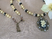Ivory Flower Pendant with Gold Glass Pearls