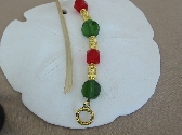 Green and Red Glass Beaded Bookmark