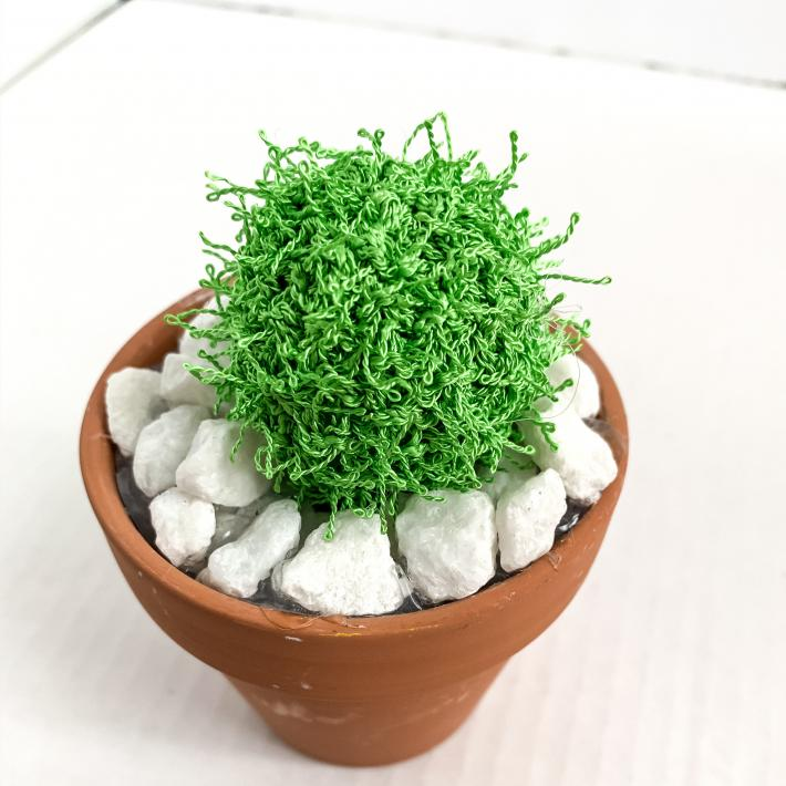 Barrel Style Spiky Knit Artificial Cactus Plant in Terracotta Pot