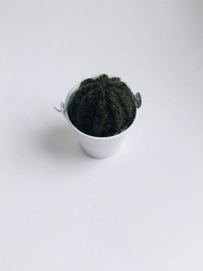 Barrel Style Knit Artificial Cactus Plant in Mini White Pot