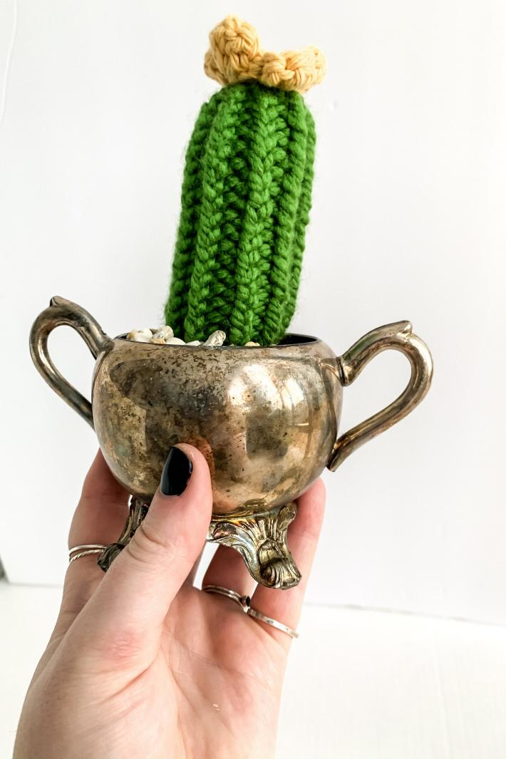 Tall Style Knit Artificial Cactus Plant with Flower in Vintage Silver Dish