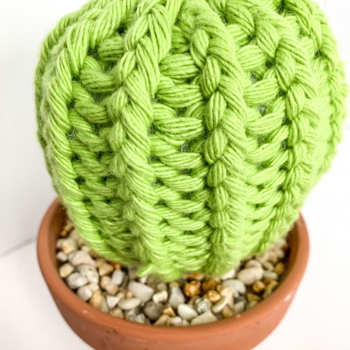 Barrel Style Knit Artificial Cactus Plant in Terracotta Pot