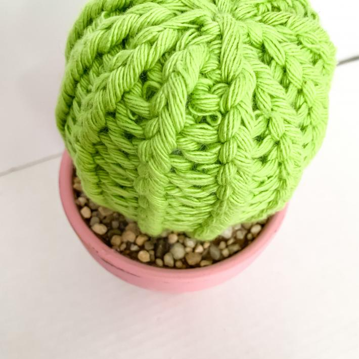 Barrel Style Knit Artificial Cactus Plant in Pink Terracotta Pot