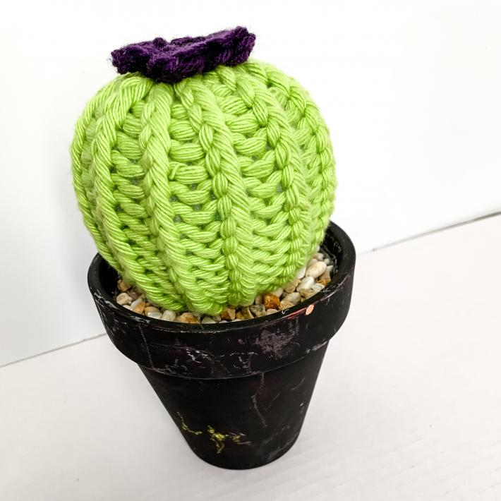 Barrel Style Knit Artificial Cactus Plant in Black Terracotta Pot