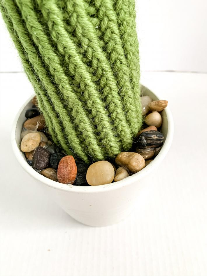 Tall Style Knit Artificial Cactus Plant in Porcelain Pot