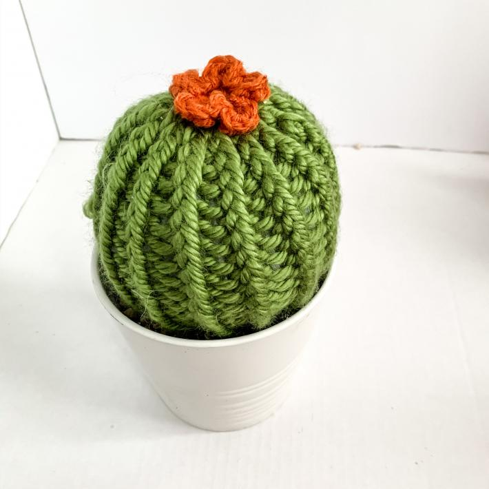 Barrel Style Knit Artificial Cactus Plant with Flower in Porcelain Pot