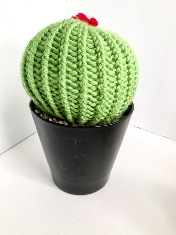 Barrel Style Knit Artificial Cactus Plant in Black Upcycled Pot