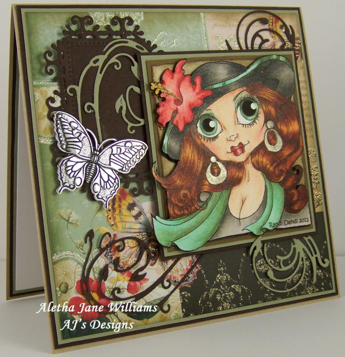 Orchid and Butterfly handmade OOAK blank greeting card