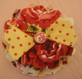 Roses and Polka Dots Fabric Flower