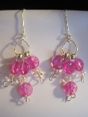Pink Crystal Quartz Dangle Silver Plated Earrings FREE SHIPPING
