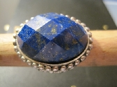 Natural Lapis Cabochon Sterling Silver Ring  Size 8