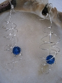 Crystal and Sterling Silver Double Swirl Earrings