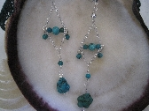 Turquoise dangle silver plate wire and chain earrings FREE SHIPPING