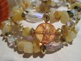Golden Quartz Aurora Borealis  Crystals gold  accent beads three strand Bracelet FREE SHIPPING