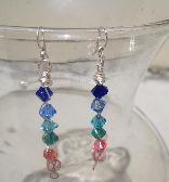 Swarovski Crystal  Chakra Earrings SP Wire Wrap