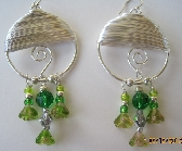 Emerald Green Crystal and Tourmaline Silver Earrings