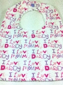 Baby Bib With Snap    I love Mommy Daddy   Pink and Purple