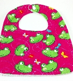 Bib With Snap  Green Frogs on Dark Pink