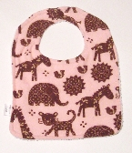Bib With Snap  Jungle Animals on Pink