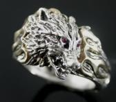 Wolfs head Flame ring sterling silver