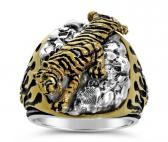 Bengal tiger flame ring sterling silver