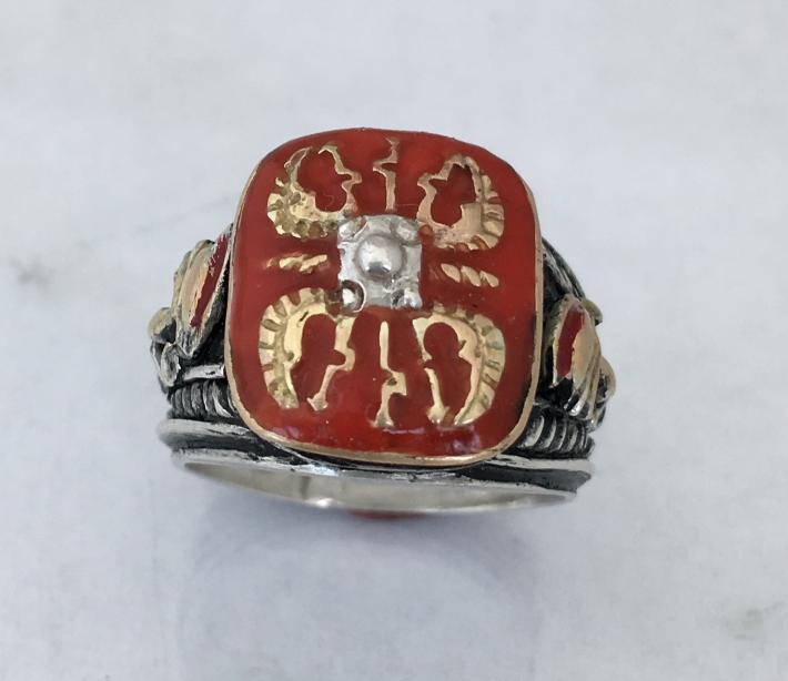 10k Gold Roman Shield sterling silver ring