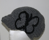 Grey Crochet Hat with Butterfly