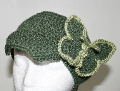 Green Crochet Hat with Butterfly