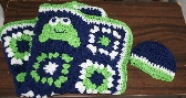 Baby Afghan in Blue Green White with Frog