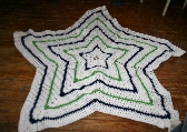 White Star Afghan for Baby with blue and green