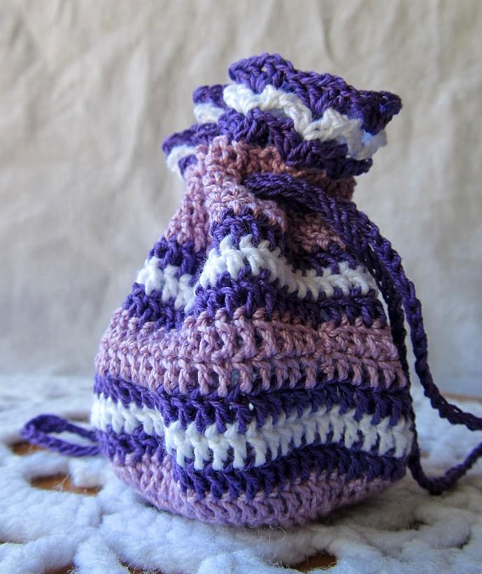 Purple and White Crochet Keepsake Pouch
