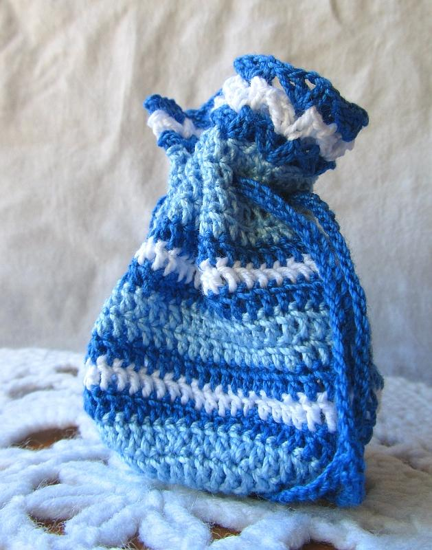 Blue and White Crochet Keepsake Pouch