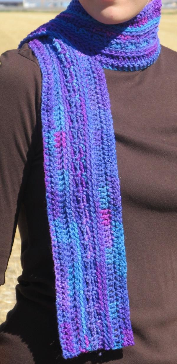 Lacy Rainbow Crochet Purple Scarf Lacy Rainbow Crochet Purple Scarf
