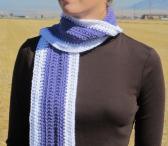 White Crochet Scarf with Purple Stripe