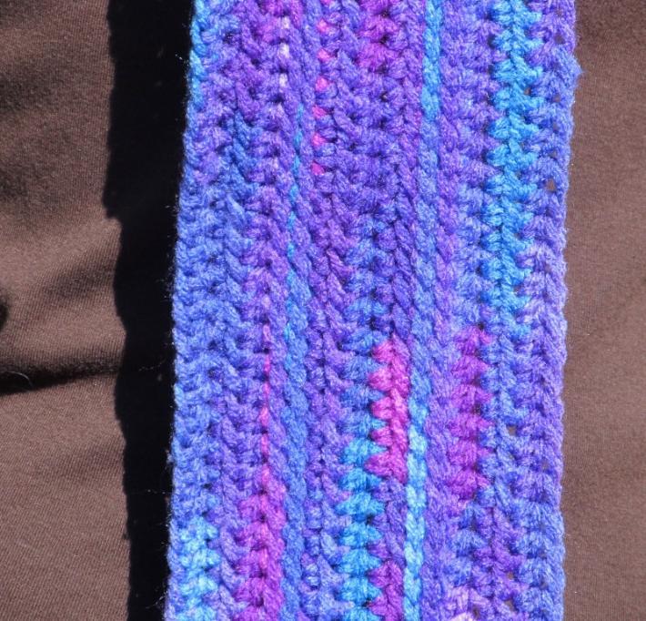 Purple Rainbow Crochet Scarf