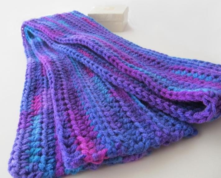 Purple Rainbow Crochet Scarf