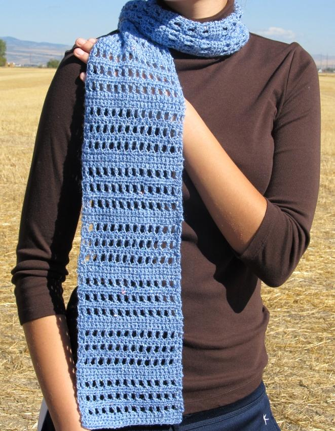 Crochet Blue Sequin Lace Scarf