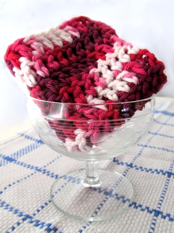 Red and Pink Cotton Crochet Dish Cloth