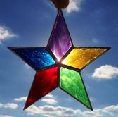 Multi Colored Star Stained Glass Sun Catcher