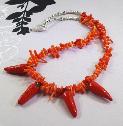 Red Coral and Porcelain Chili Peppers Necklace By TamsJewelry