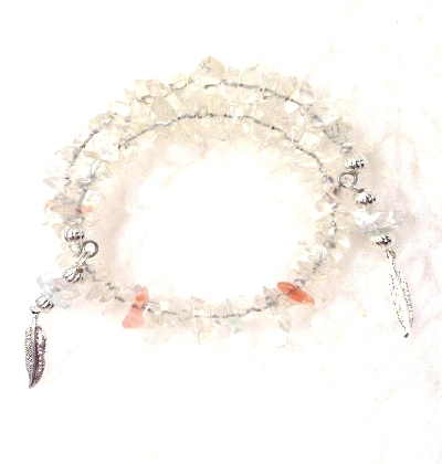 White and Pink Quartz Memory Wire Bracelet By TamsJewelry