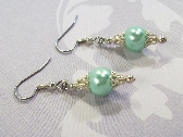 Mint Green Pearl Filigree Earrings By TamsJewelry