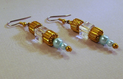 Gold and Aqua Blue Pearl  Crystal Earrings By TamsJewelry